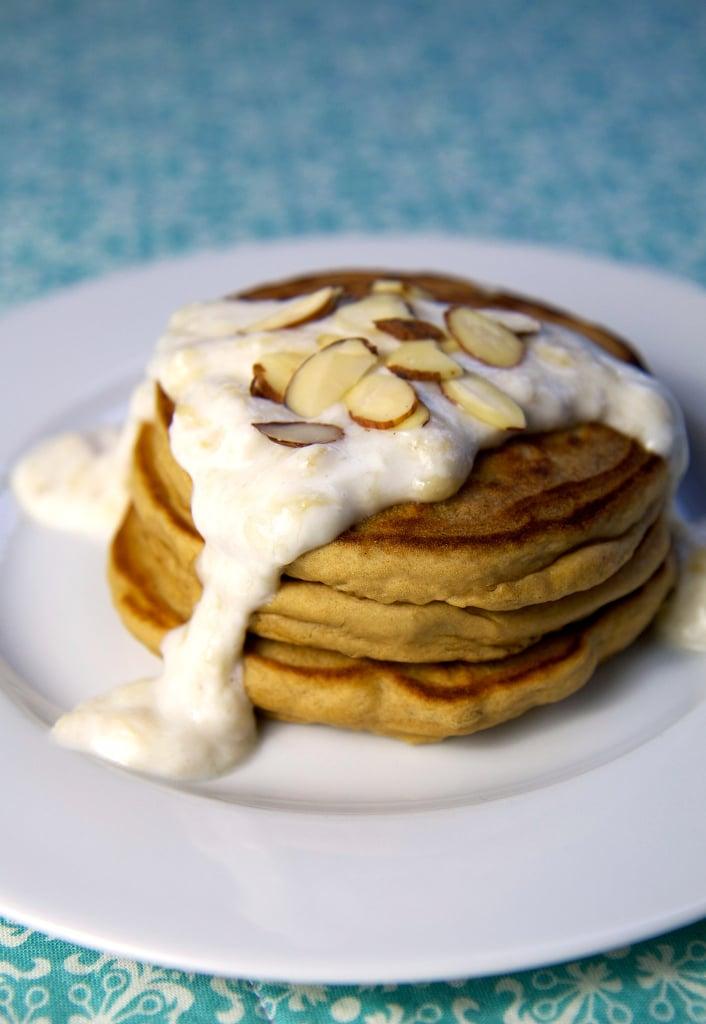 Almond Protein Pancakes With Banana Cream Sauce