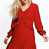 Boohoo Jian Long Sleeve Ruffle Tea Dress (£15)