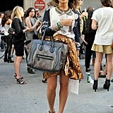 The must-have Céline tote and a pair of strappy heels and statement jewels created an on-point mix-up.