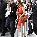 Kelly Preston walks with son Benjamin Travolta.