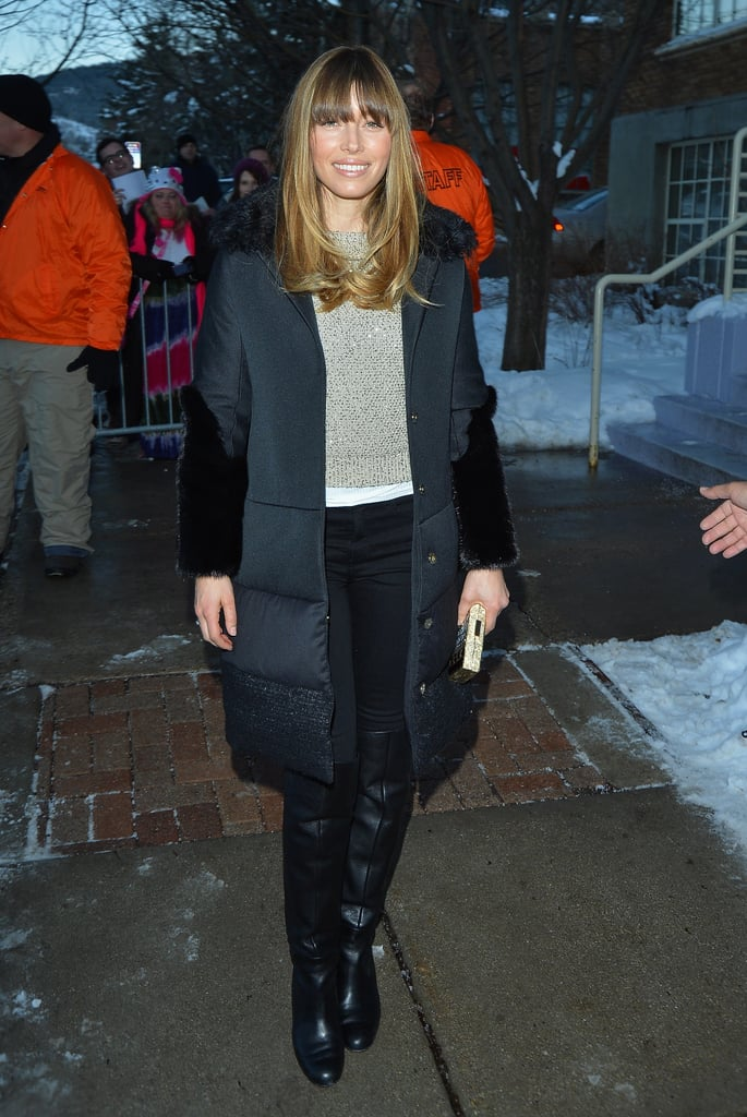 Jessica Biel walked the streets of Park City, UT, during the Sundance Film Festival in January 2013.
