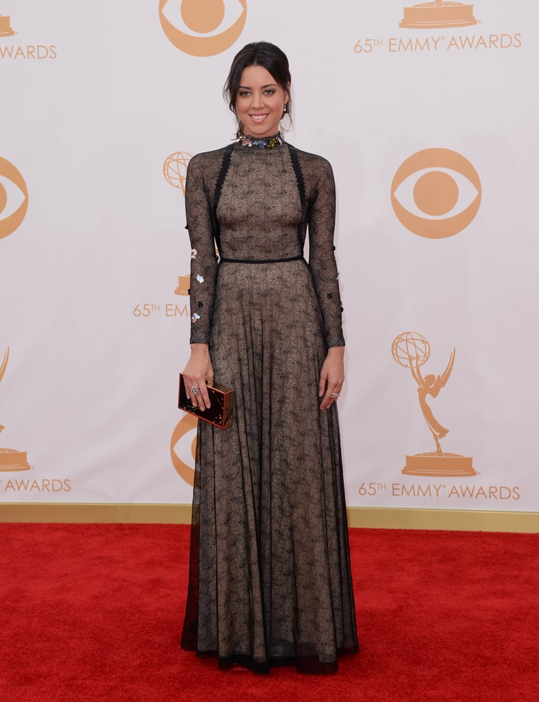 Aubrey Plaza on the red carpet at the 2013 Emmy Awards.