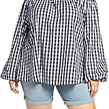 Seven7 Billow Sleeve Gingham Top