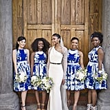 These knee-length, blue patterned dresses stood out beautifully against the bride's gown.