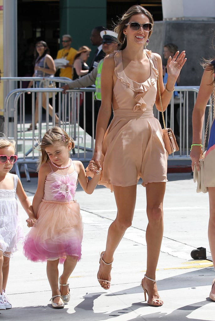 Alessandra Ambrosio showed up at the Los Angeles Film Festival on Saturday with her daughter Anja in tow.