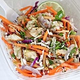 Thursday: Thai citrus chicken salad (200 calories) with one banana (105 calories) and one of tablespoon peanut butter (95 calories): 400 calories  Friday: Spicy sweet potato salad (270 calories) with a bowl of broccoli arugula soup (129 calories: 399 calories
