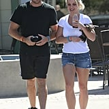 Britney Spears showed off her legs in a pair of cutoff shorts for an outing with her boyfriend, David Lucado.