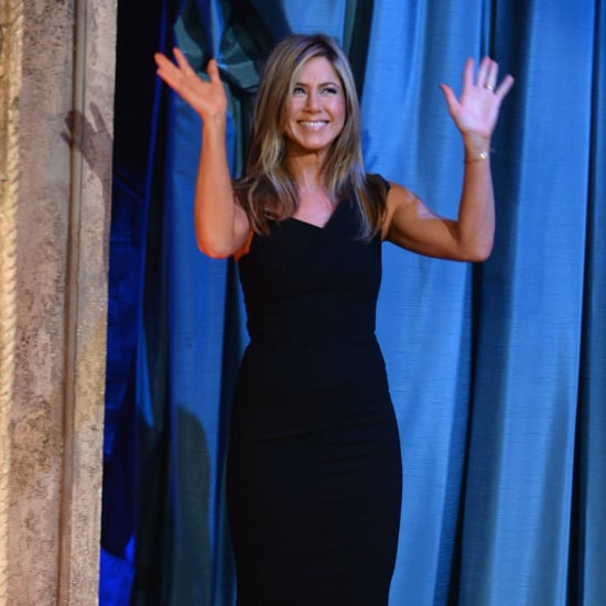 Jennifer Aniston in a Black Dress on Jimmy Fallon