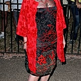 An eye catching red jacket on Jo Wood brightened up the party.