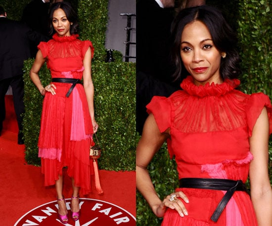 Zoe Saldana in red Prabal Gurung at the Vanity Fair Oscars Party 2011