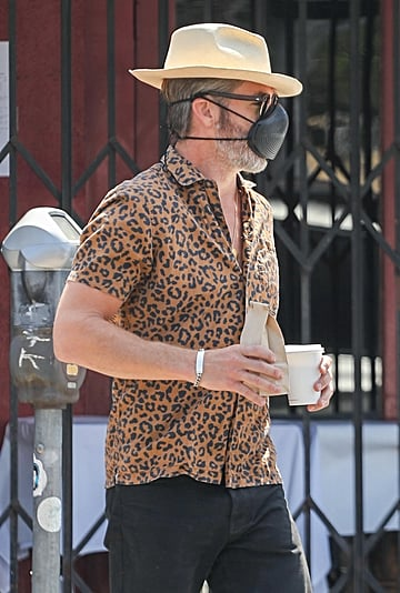Chris Pine's Leopard-Print Shirt and Birkenstocks Outfit