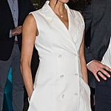Meghan Changed Into a White Maggie Marilyn Tuxedo Dress