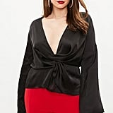 Missguided Curve Black Drape Blouse