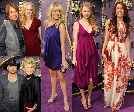 Images of Red Carpet CMT Awards including Carrie Underwood, Taylor Swift and Nicole Kidman