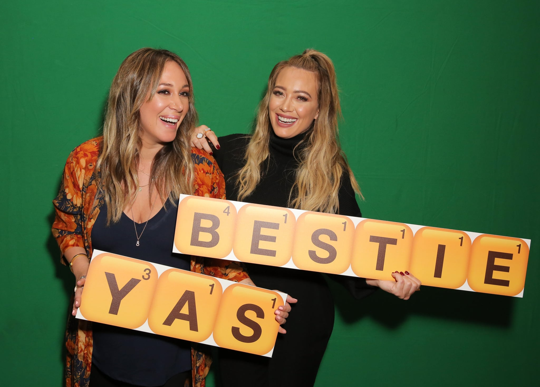 WEST HOLLYWOOD, CA - NOVEMBER 09:  Haylie Duff (L) and Hilary Duff attend the Launch of Words with Friends 2 hosted by Hilary and Haylie Duff at Norah Restaurant on November 9, 2017 in West Hollywood, California.  (Photo by Rachel Murray/Getty Images for Words with Friends 2 )