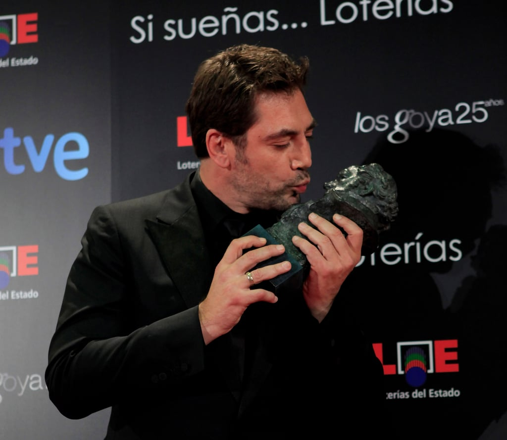Javier Bardem Gives Love to His Best Actor Statue, Wife, and Baby Leo