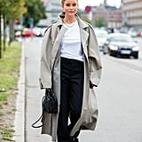 Fall Outfit Idea: Trench Coat + Trousers + Sneakers