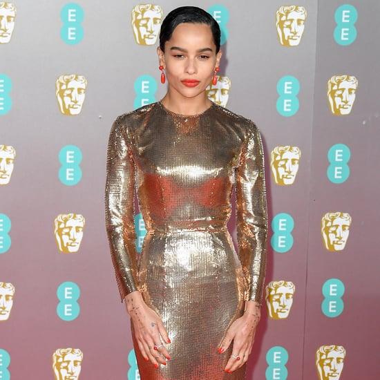 Zoë Kravitz Gold Dress at the BAFTA Awards 2020