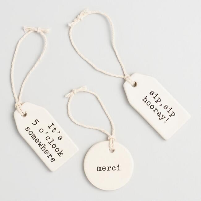 Ivory Ceramic Wine Tags