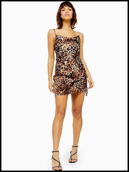 Topshop Leopard Print Ruched Slip Dress