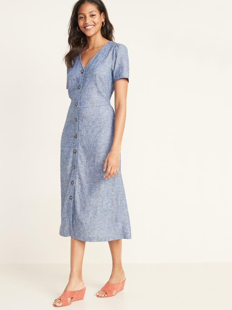 V-Neck Button-Front Linen-Blend Fit & Flare Midi Dress