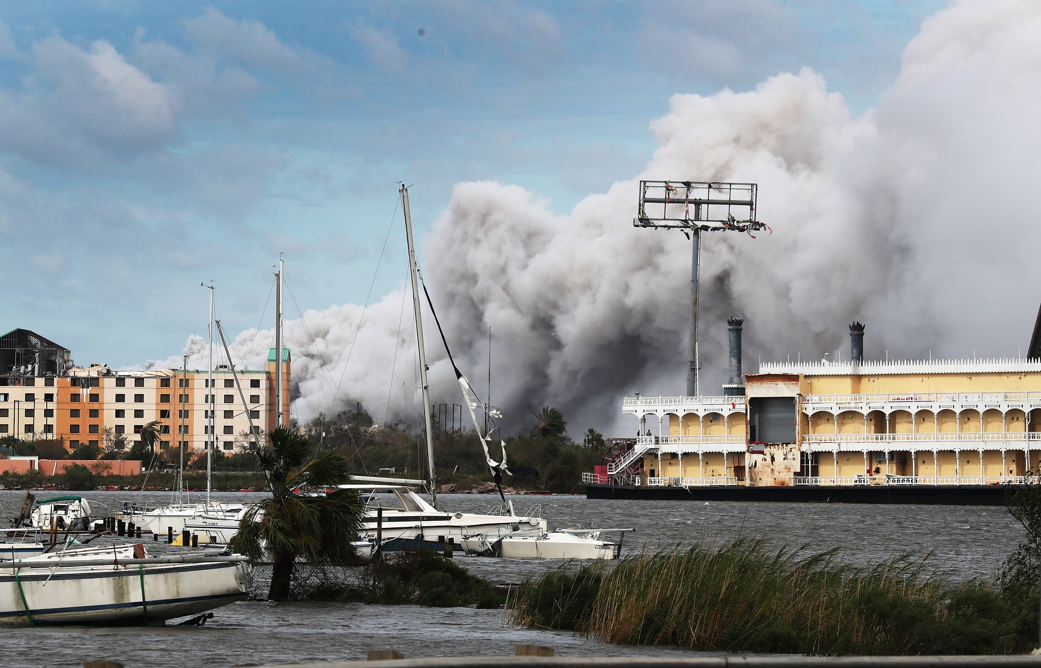 LAKE CHARLES, LOUISIANA - AUGUST 27: Smoke is seen rising from what is reported to be a chemical plant fire after Hurricane Laura passed through the area on August 27, 2020 in Lake Charles, Louisiana . The hurricane hit with powerful winds causing extensive damage to the city. (Photo by Joe Raedle/Getty Images)