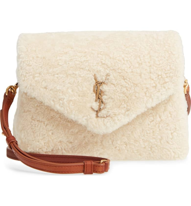 Saint Laurent Small Loulou Genuine Shearling Crossbody Bag  9bbc5a74e6a9e
