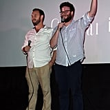 On Thursday, Seth Rogen joined director Evan Goldberg at a midnight screening of their movie The Interview.