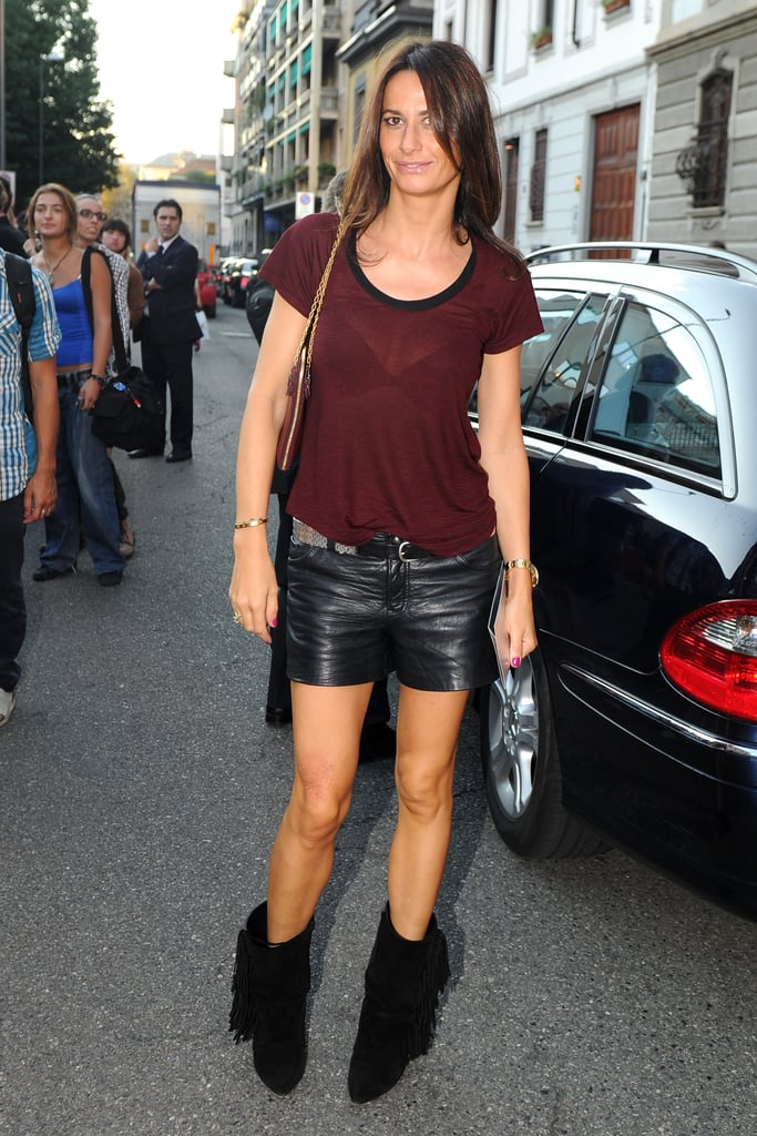 Fringed boots + leather shorts = hot.