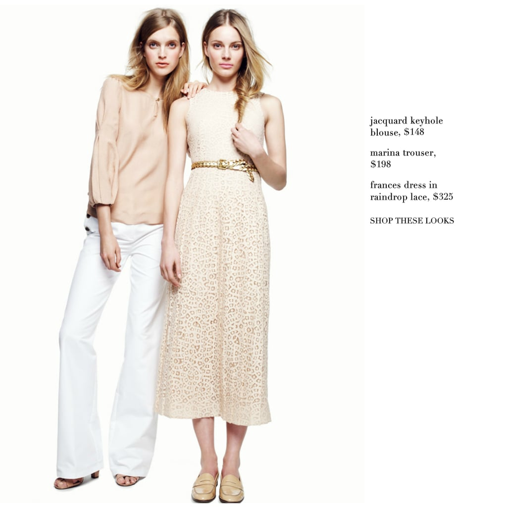 Invest: Marina Trouser ($198), Jacquard Keyhole Blouse ($168)  Why: Casual, nude-toned pieces are always Spring ready and easy fits for transitioning into colder climates. We love this wide-leg trouser and keyhole-detailed blouse for its sweet simplicity.