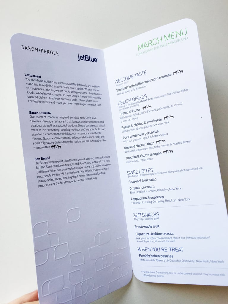 This is what the March lunch/dinner menu (Eastbound) looked like. It featured dishes inspired by Saxon + Parole, a restaurant in New York City that focuses on local meat and seafood, and wine offerings selected by wine expert Jon Bonné.