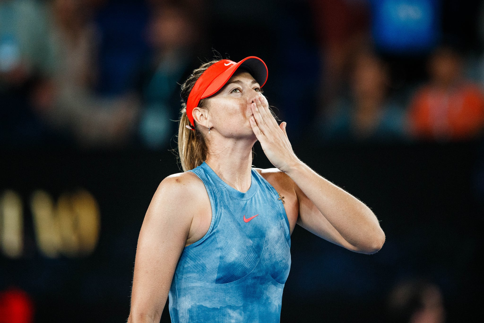 MELBOURNE, VIC - JANUARY 18: MARIA SHARAPOVA (RUS) during day five match of the 2019 Australian Open on January 18, 2019 at Melbourne Park Tennis Centre Melbourne, Australia (Photo by Chaz Niell/Icon Sportswire via Getty Images)