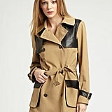 We love the cool leather accents on this dark camel trench.  Rebecca Minkoff Smith Leather Trim Trench ($314, originally $448)