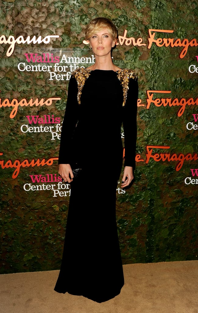 Charlize Theron sported a flowing black gown at the Annenberg Gala.
