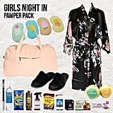 Girls Night In Pamper Pack Showbag ($25) Includes:  Duffle Bag  Kimono Robe  Sleeping Eye Mask