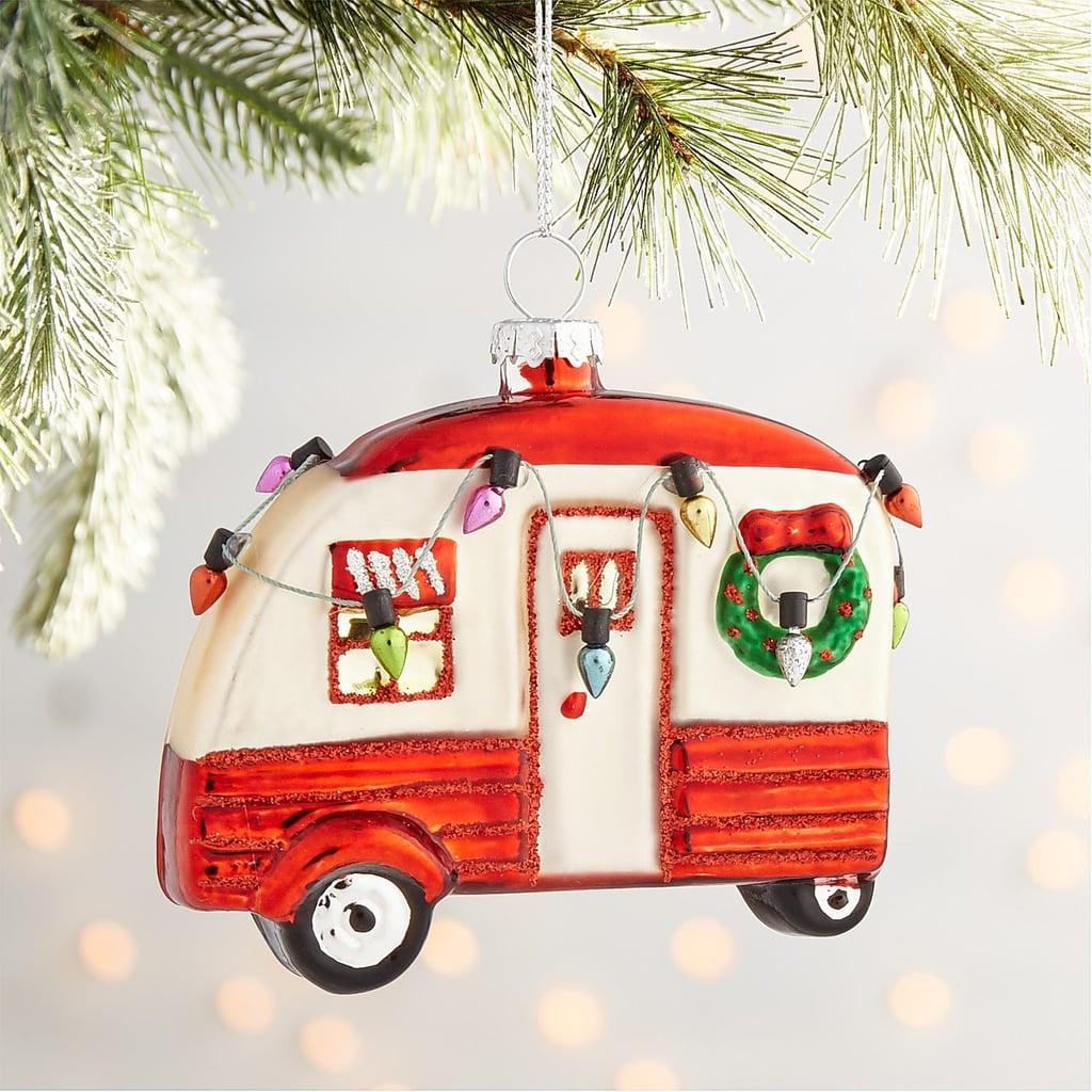 Red Camper Glass Ornament