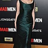 She played up her Zac Posen statement dress with eye-catching diamonds, Victoria Stuart Weitzman platforms, and a swipe of red lipstick.