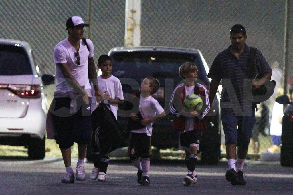 David Beckham, Cruz Beckham, and Romeo Beckham have a soccer day.