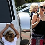 Kingston Rossdale hid behind the car.