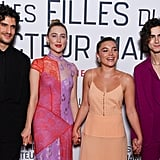 Louis Garrel, Saoirse Ronan, Florence Pugh, and Timothée Chalamet at the Little Women Premiere