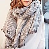 Lisa Angel Personalised Grey Herringbone Weave Wrap Scarf