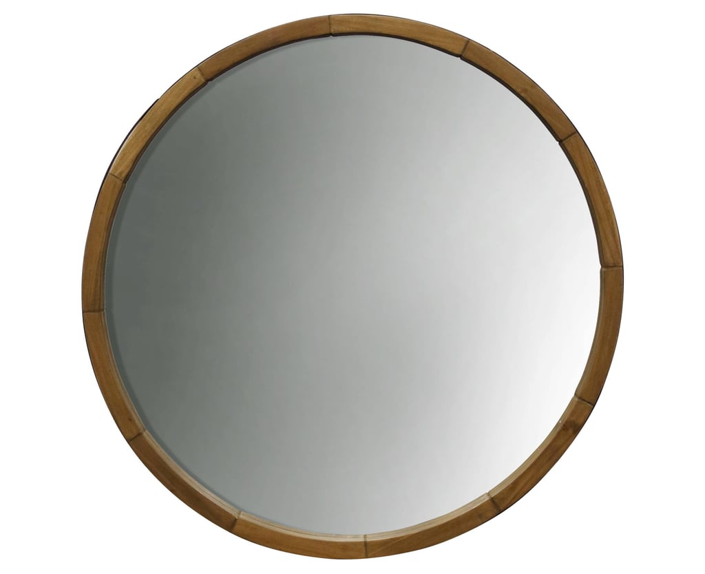 Round decorative wall mirror wood barrel frame 40 Round decorative wall mirrors