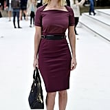 Alice Eve looked ultrachic in a fitted burgundy sheath at Burberry.