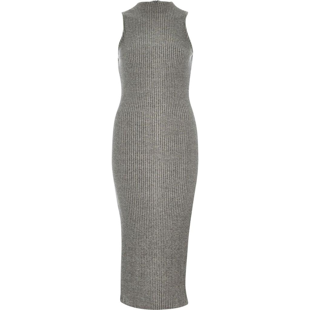 River Island Gray Ribbed High Neck Dress ($60)