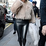 Kim Played With Contrast by Pairing a Cozy Coat and Skintight Leggings