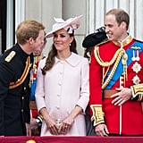 Prince Harry leaned in to chat with Will and pregnant Kate during the annual Trooping the Colour ceremony in June 2013.