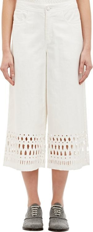 Sea Embroidered Eyelet Denim Gauchos ($365)