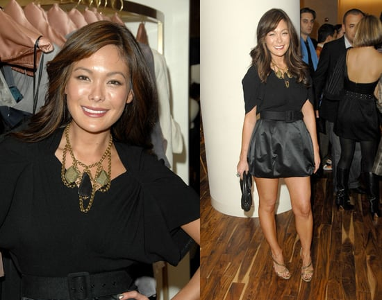 Lindsay Price Attends 2nd Annual H.E.L.P. Malawi Fundraising Event in Black Satin Skirt and Bib Necklace