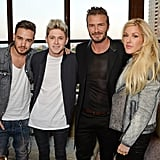 Liam Payne, Niall Horton, and Ellie Goulding joined David Beckham for his H&M swimwear launch in London on Wednesday.