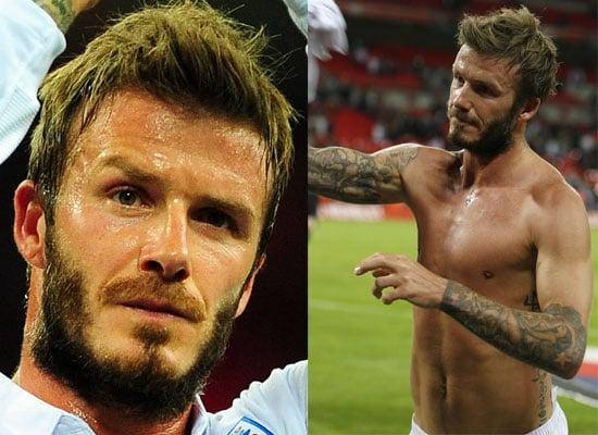 Photos of Shirtless David Beckham Playing For England v Belarus